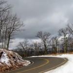 Top of Potts Mtn., snow, dark clouds